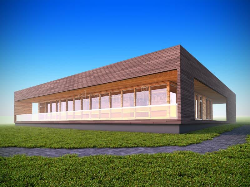 Casa di legno moderna ecologica illustrazione di stock - Casa legno moderna ...