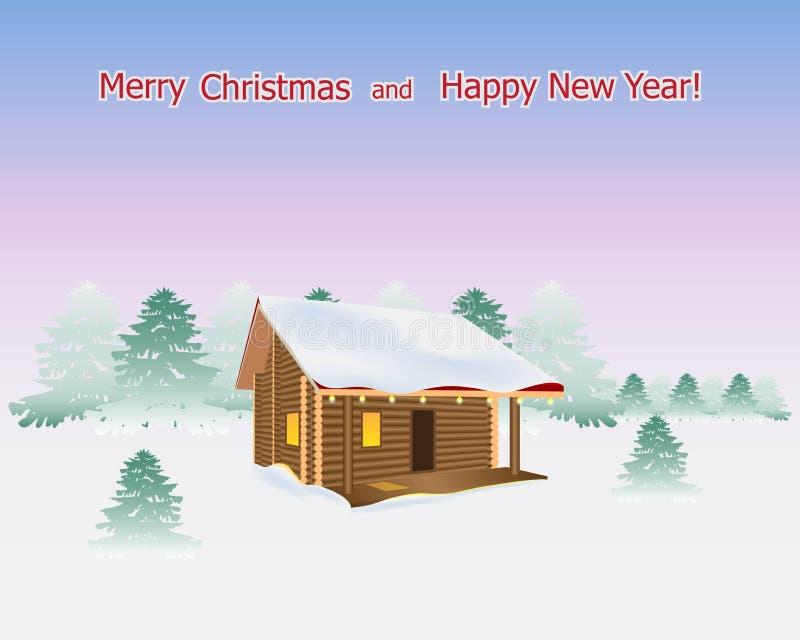 Casa di legno su un fondo di un paesaggio di inverno Nel windo royalty illustrazione gratis