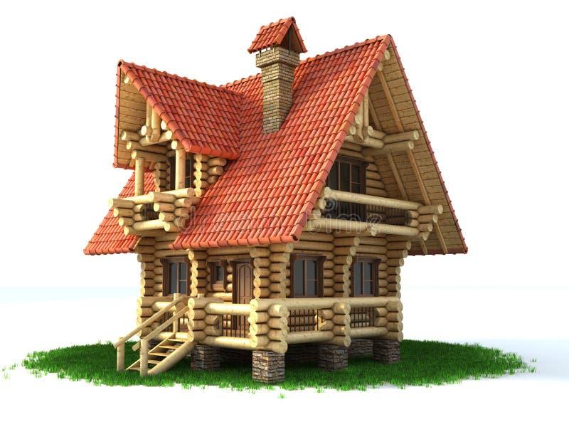 Casa di legno sull'illustrazione dell'erba 3d illustrazione vettoriale