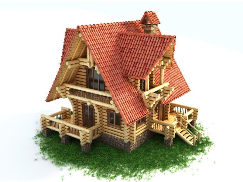 Casa di legno sull'illustrazione dell'erba 3d royalty illustrazione gratis
