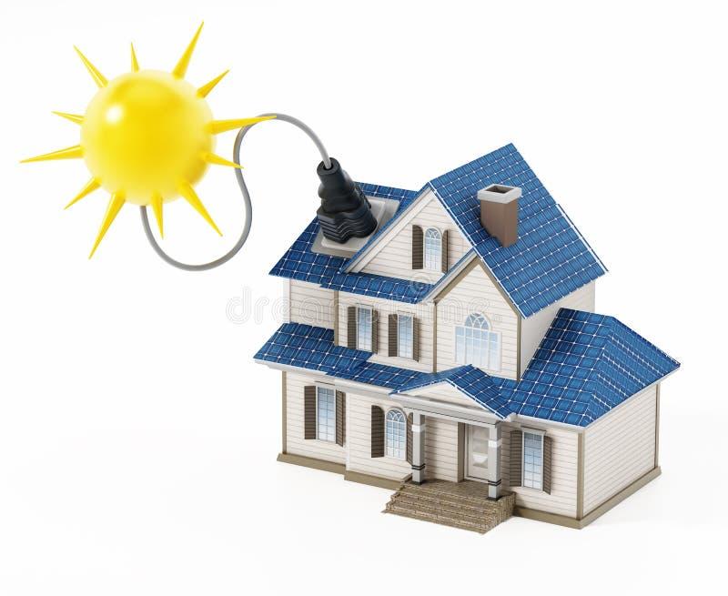 Casa di lusso coperta di pannelli solari che colllecting raggio di sole illustrazione 3D illustrazione vettoriale