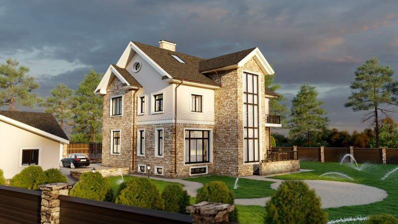 Casa di lusso della famiglia con l'abbellimento illustrazione di stock