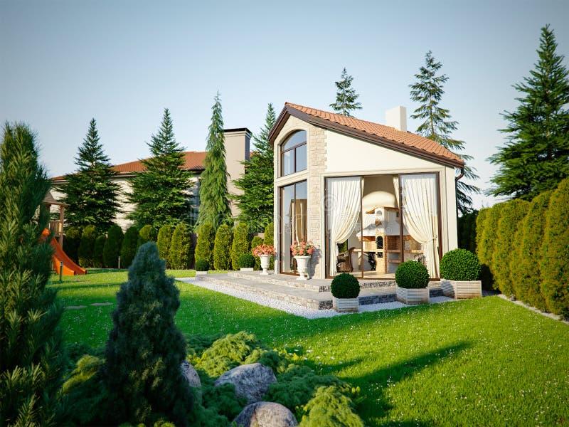 Casa di lusso della famiglia del gazebo del barbecue illustrazione vettoriale