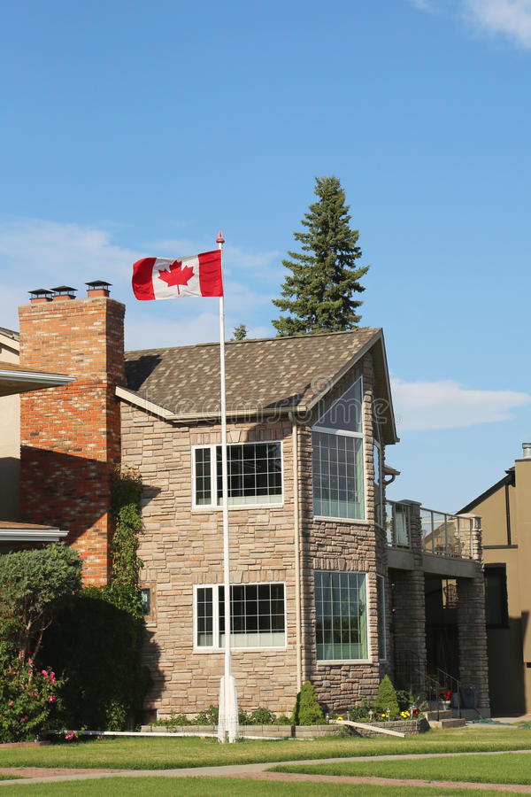 Casa di lusso di lungofiume a Calgary fotografia stock