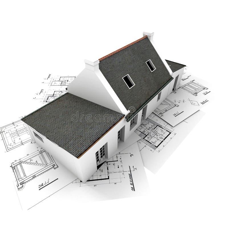 Casa di modello di Architect?s in cima alle cianografie illustrazione di stock