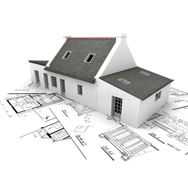 Casa di modello di architettura in cima alle cianografie illustrazione di stock