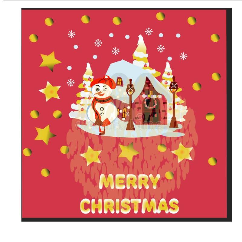 Casa di Natale con le lampade sveglie di via e del pupazzo di neve Contro fondo rosso illustrazione vettoriale