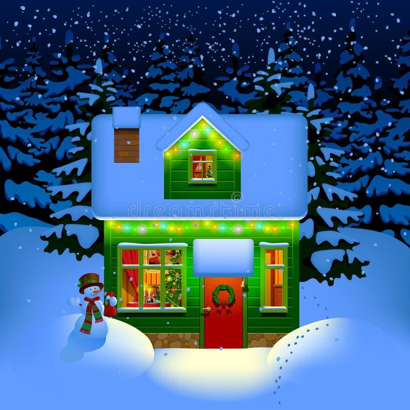 Casa di Natale di notte illustrazione di stock
