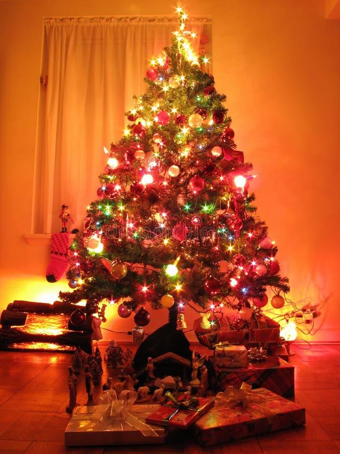 casa di notte di Natale fotografia stock libera da diritti