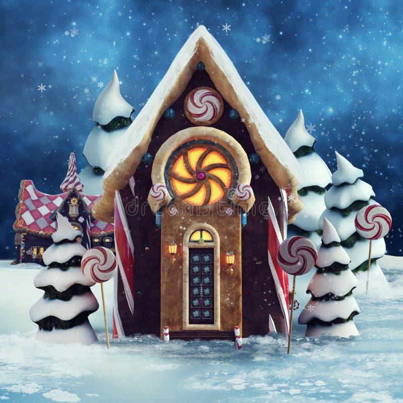 Casa di pan di zenzero con le lecca-lecca illustrazione vettoriale