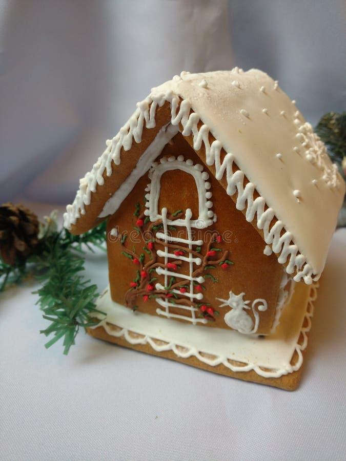 Casa di pan di zenzero fatta a mano e decorata fotografie stock libere da diritti