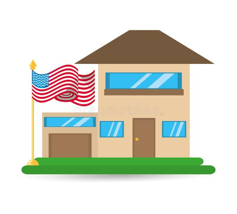 Casa di patriottismo con progettazione della bandiera americana illustrazione di stock