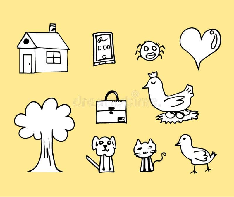 Casa di pollo del disegno del bambino ed immagini ecc immagine stock libera da diritti