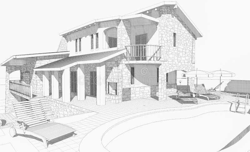 Casa di schizzo illustrazione vettoriale