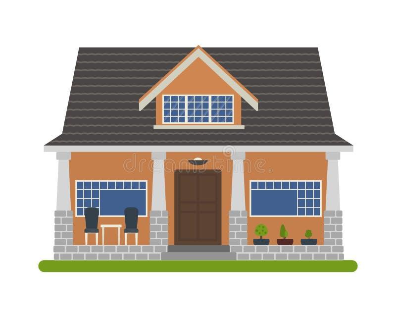 Casa di stile del bungalow illustrazione di stock