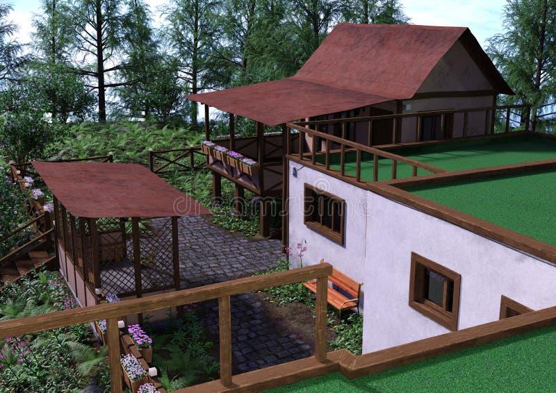 casa di vacanza della rappresentazione 3D royalty illustrazione gratis