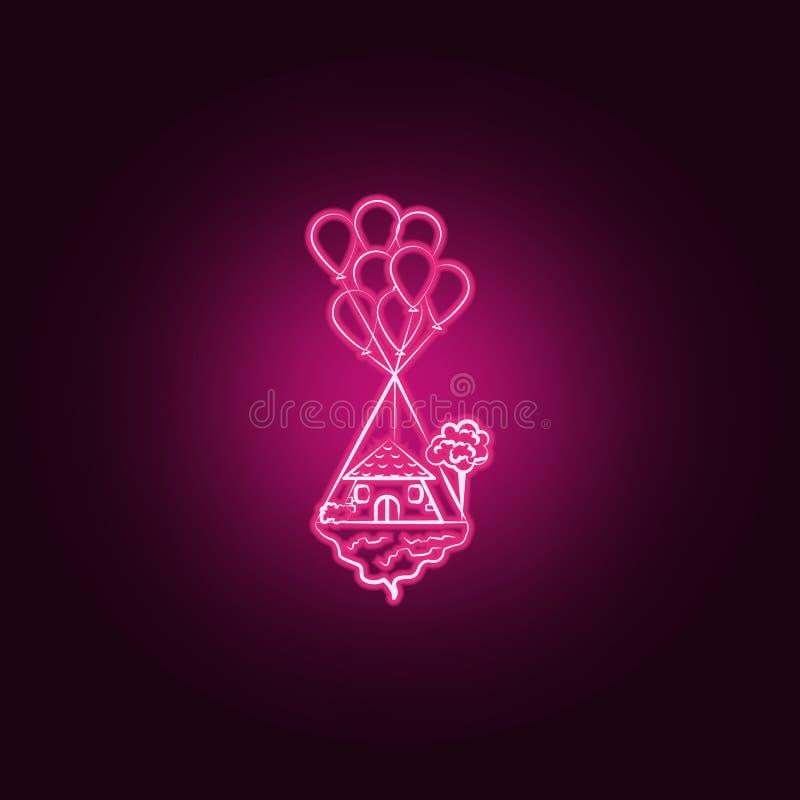 Casa di volo, icona al neon del baloon Elementi dell'insieme immaginario della casa E illustrazione vettoriale