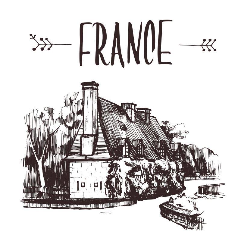 Casa dibujada mano del jardín del bosquejo, Francia Ejemplo de libro a mano, postal turística o plantilla del cartel en vector fotos de archivo libres de regalías