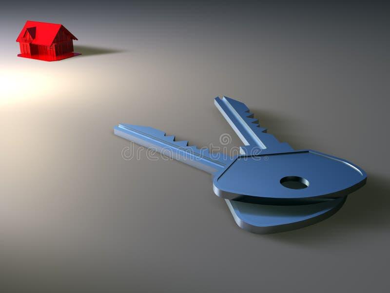 Casa diminuta e chave ilustração do vetor