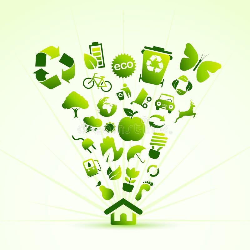 Casa do ícone de Eco ilustração do vetor