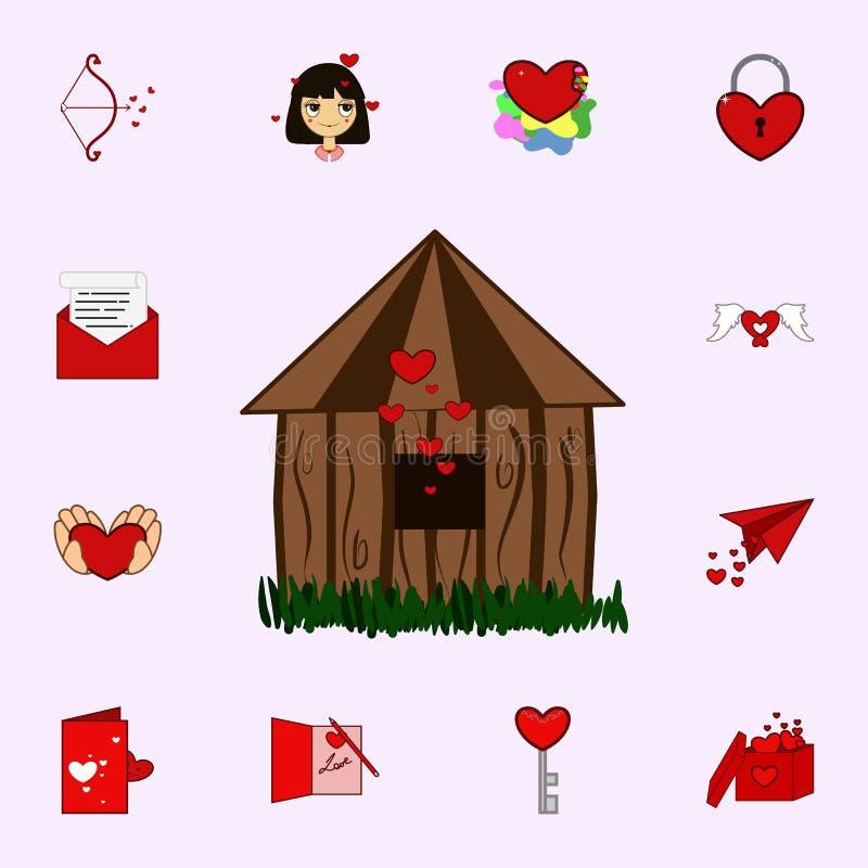Casa do amor, ícone do dia do Valentim s Ame o grupo universal dos ícones para a Web e o móbil ilustração stock