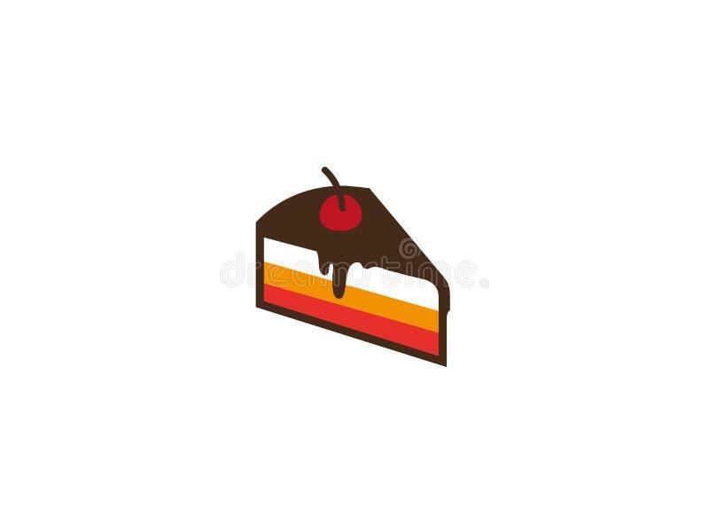 Casa do bolo da padaria com chocolat e morango e creme ilustração stock