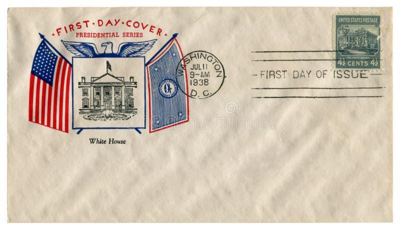 Casa do branco da C C , Os EUA - 11 de julho de 1938: Envelope histórico dos E.U.: tampa com série presidencial do prestígio, cas imagem de stock