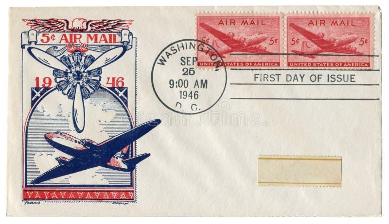 Casa do branco da C C , Os EUA - 25 de setembro de 1946: Envelope histórico dos E.U.: tampa com correio aéreo do prestígio, carga fotografia de stock
