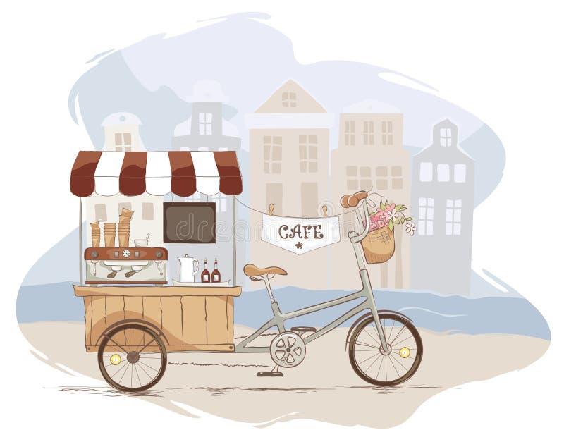Casa do café na bicicleta ilustração royalty free