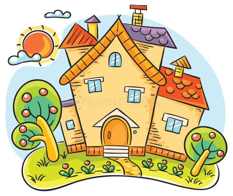 Casa do campo com um jardim ilustração stock