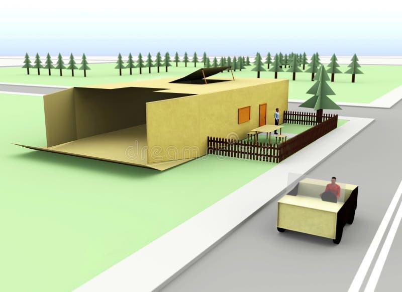 casa do cartão 3d ilustração do vetor