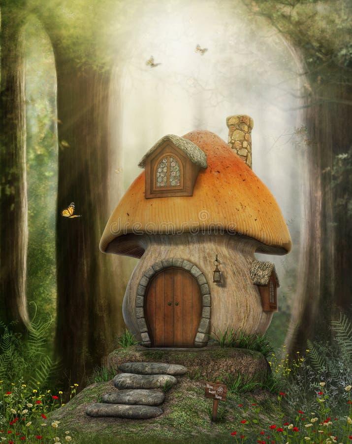 Casa do cogumelo do conto de fadas ilustração do vetor