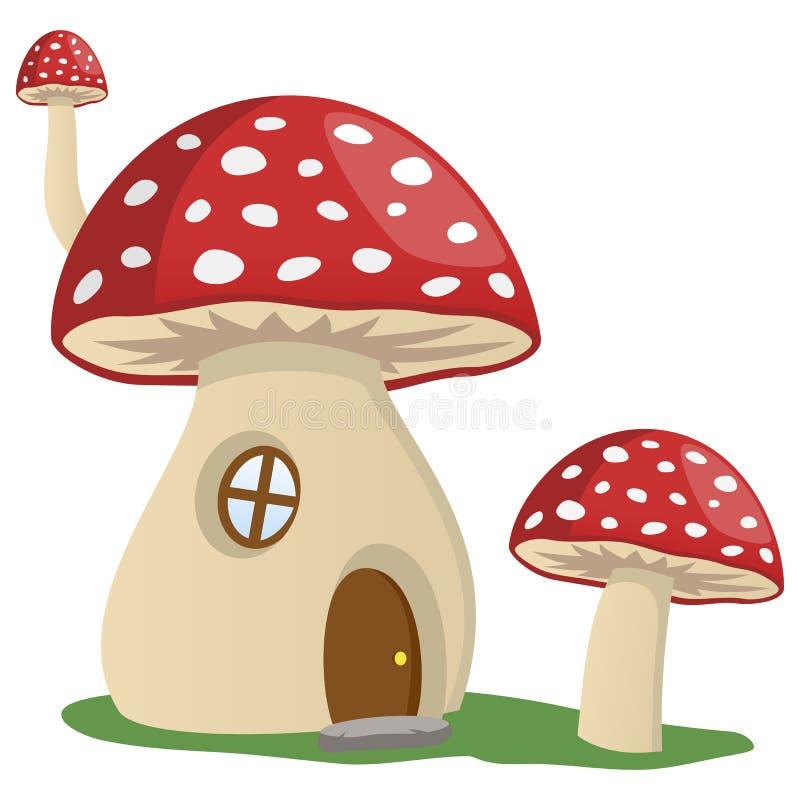 Casa do cogumelo do conto de fadas ilustração stock