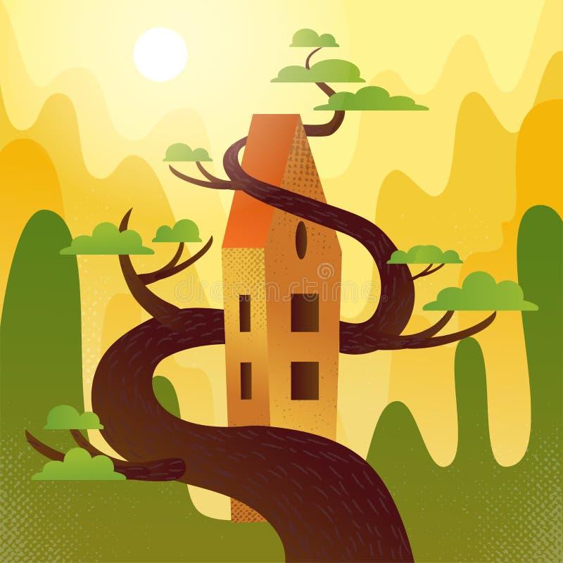 Casa do conto de fadas com o telhado, entrelaçado com a árvore em montanhas, fundo dos montes O tempo do verão, sol quente está b ilustração do vetor