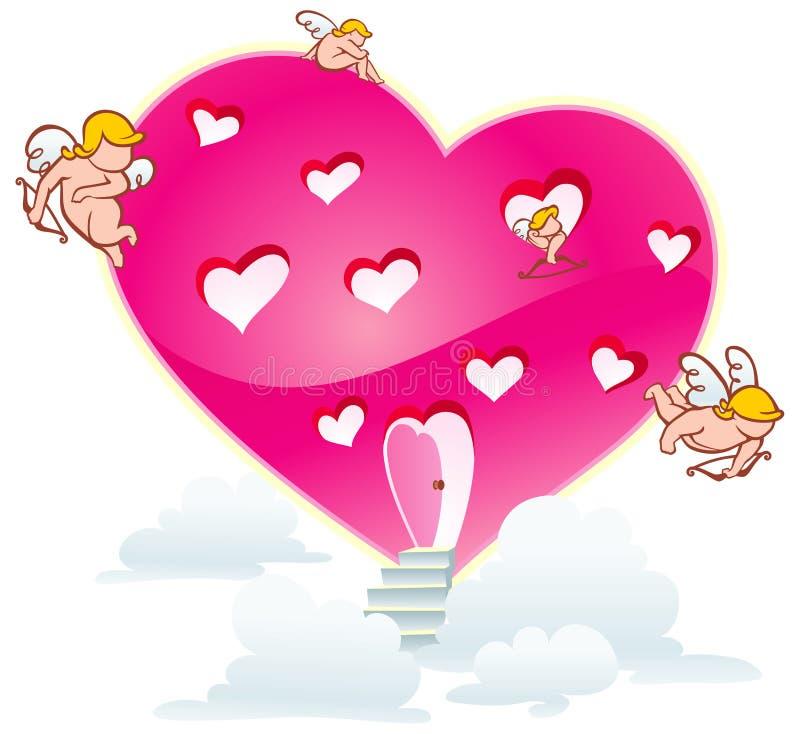 Casa do coração dos cupidos ilustração do vetor