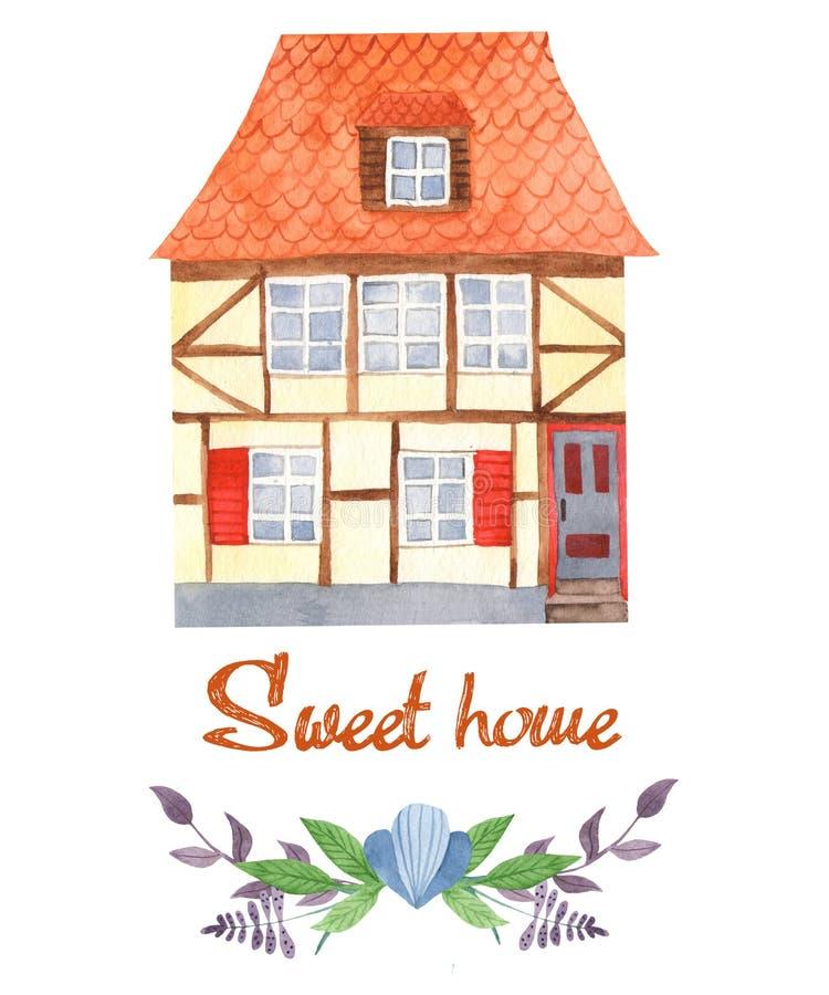 Casa do doce do cartão da aquarela casa Metade-suportada, flores, ramos ilustração stock