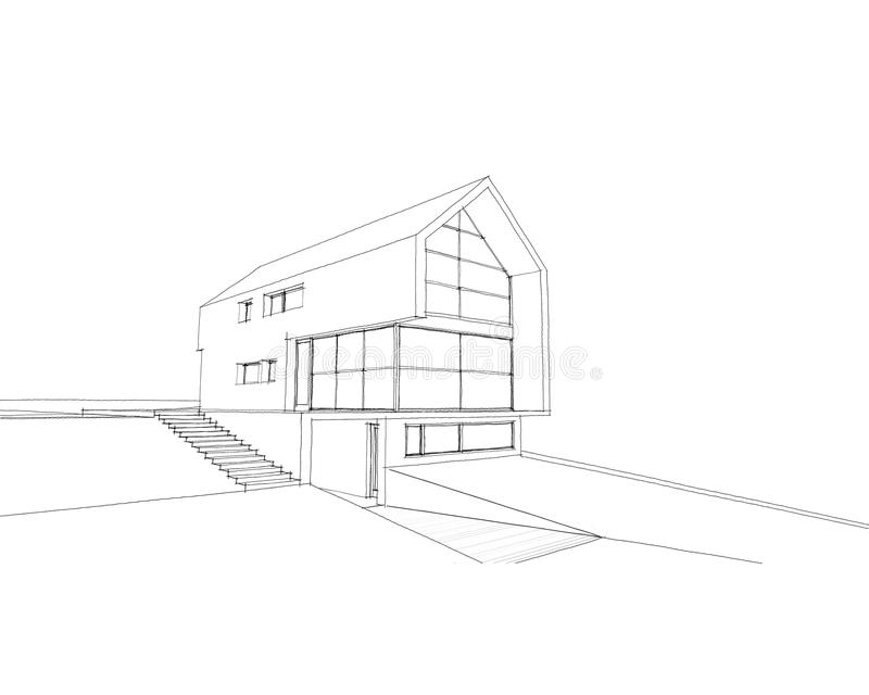 Casa do esboço ilustração stock