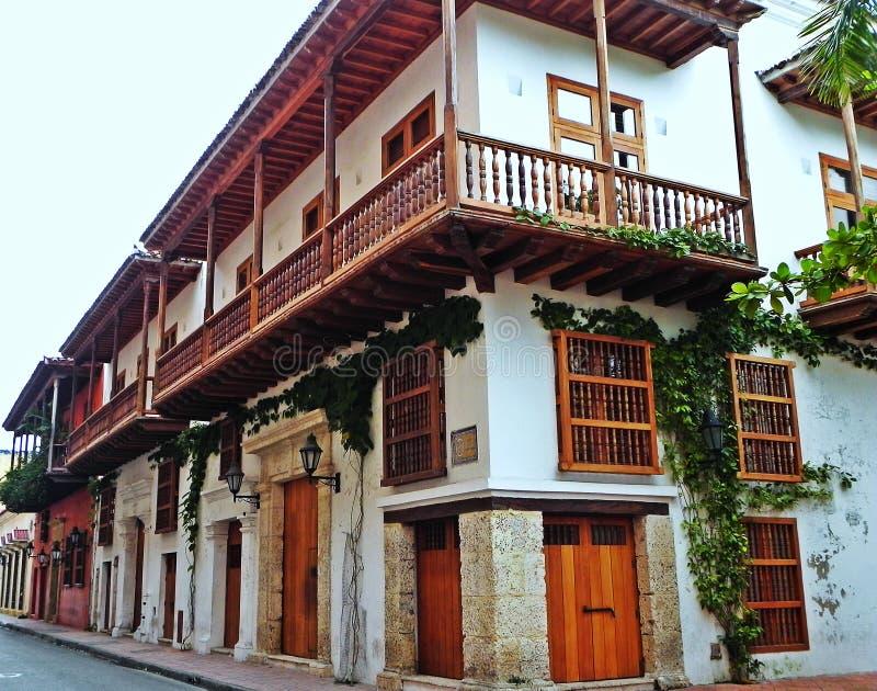 casa do Espanhol-estilo na cidade histórica de Cartagena, Colômbia fotos de stock royalty free