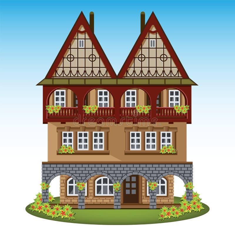 Casa do estilo antigo do centro da cidade histórico ilustração royalty free