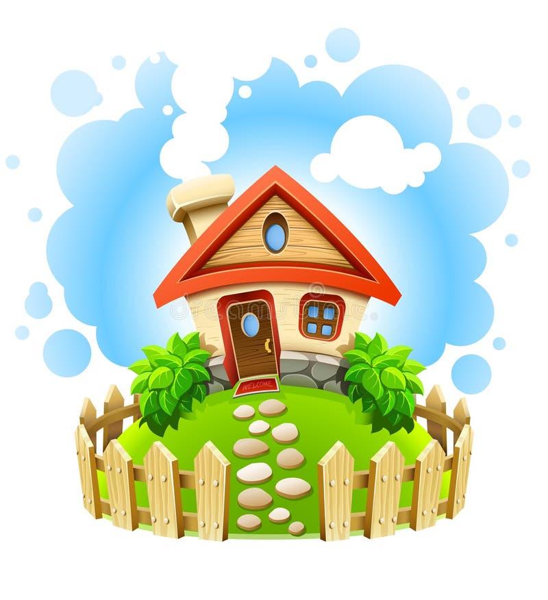 Casa do Fairy-tale na jarda com cerca de madeira ilustração royalty free