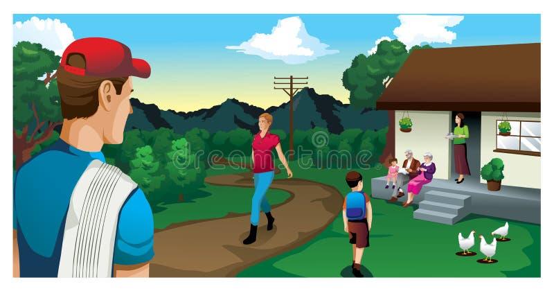 Casa do fazendeiro no país com montanhas ilustração stock