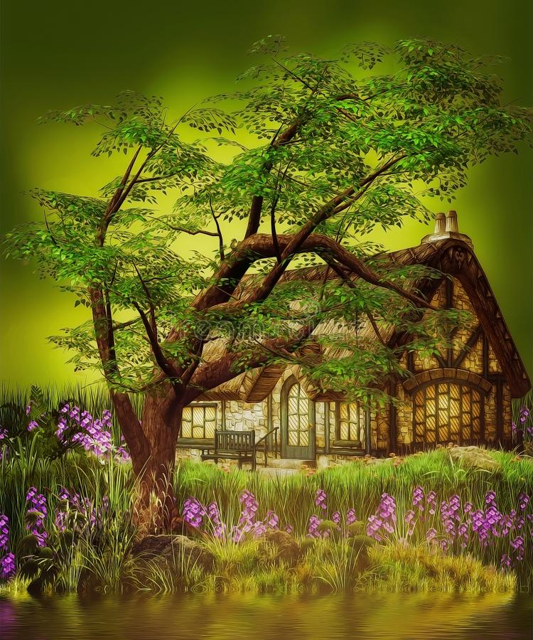 Casa do gnomo da fantasia ilustração do vetor