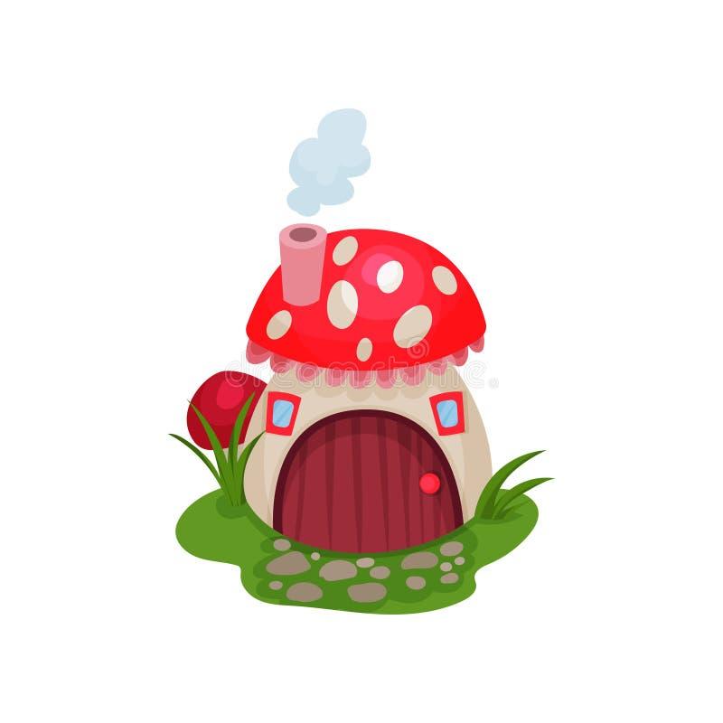 A casa do hobbit dos desenhos animados no formulário do cogumelo com vermelho manchou o telhado Casa da fantasia com porta de mad ilustração do vetor