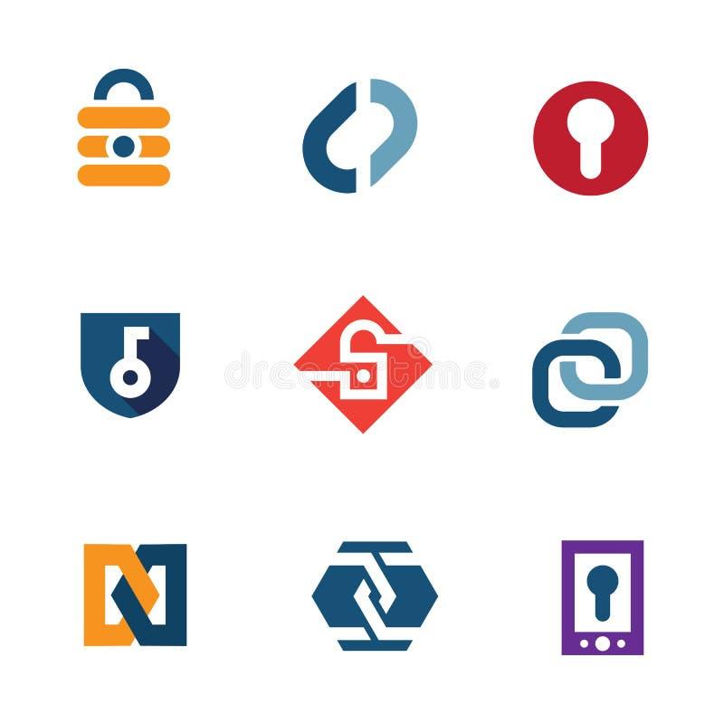 A casa do Internet fixa ícones do logotipo da tecnologia de sistema da segurança do fechamento ilustração royalty free
