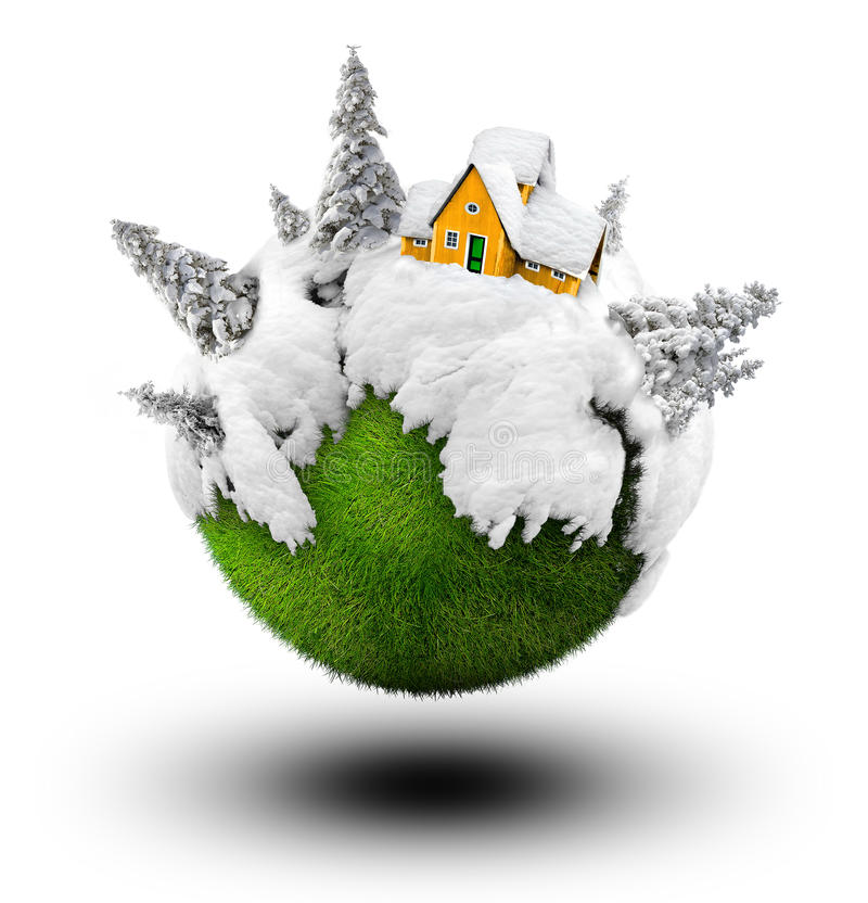Casa do inverno ilustração stock