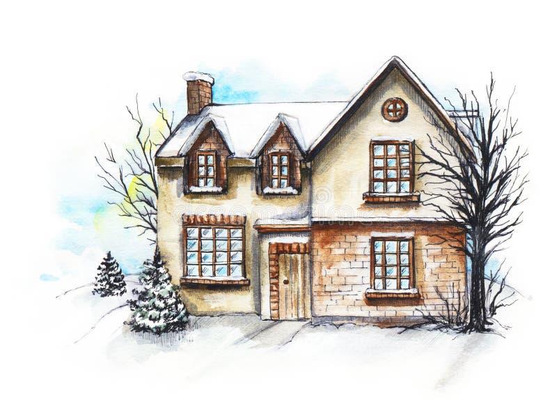 Casa do inverno da aquarela na neve ilustração stock