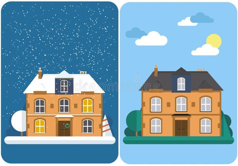 Casa do inverno e de verão Casa suburbana da família Ilustração lisa do vetor ilustração stock