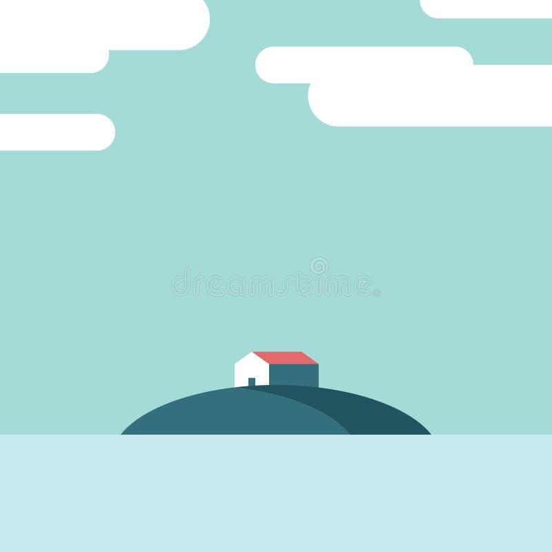 Casa do lago na ilha no meio da ilustração do vetor da água Molde do cartaz das férias de verão com espaço para o texto ilustração stock