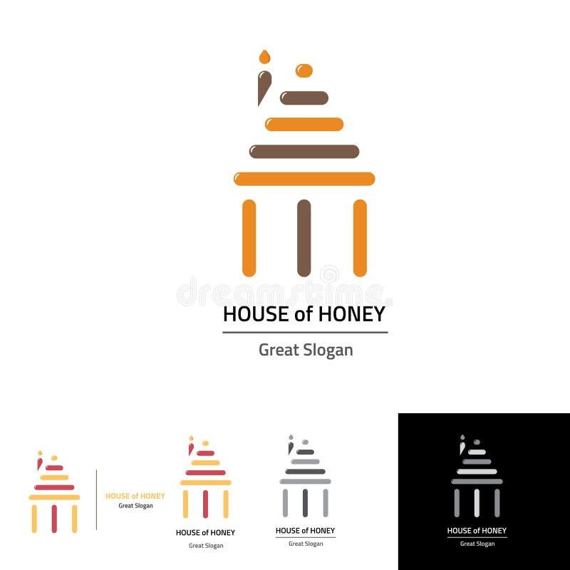 A casa do mel com a pilha três gosta do templo ilustração royalty free