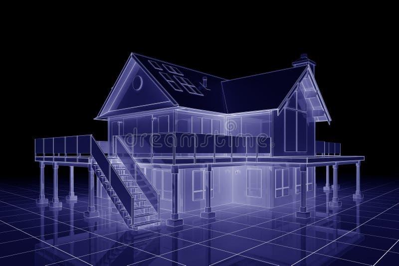 casa do modelo 3D ilustração stock